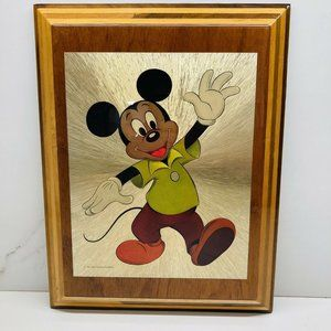 Vintage Mickey Mouse Rare Wodden Plaque The Walt